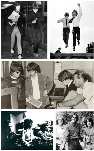 "Clockwise, from top: Peter Asher (right) with Mick Jagger, circa 1960s. Asher next week is launching, ""Peter Asher: A Musical Memoir of the '60s and Beyond.""   The Sixities British pop duo: Peter and Gordon. After Asher and Gordon Waller split, Asher went on to producing.  From left: John Lennon, George Harrison, Peter Asher and George Martin. Asher's sister was dating Paul McCartney, who would sometimes give Asher unrecorded Lennon-McCartney songs, including their eventual smash hit ""A World Without Love.""  Peter Asher at the console in the studio with James Taylor, circa 1971. Asher produced Taylor's eponymous debut album, before returning with Taylor to the U.S. and producing the 1970 album ""Sweet Baby James.""  Peter Asher, left, with James Taylor and singer Danny ""Kootch"" Kortchmar."